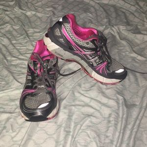 Pink and gray ASICS running shoes